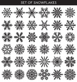 Set 36 black different snowflakes of handmade for vector image vector image