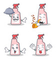set of cleaner character with chef trumpet tongue vector image vector image
