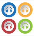 set of four icons - headphones vector image vector image