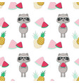 summer seamless pattern with raccoon vector image vector image