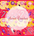 sweets background with lolipop and jelly beans vector image vector image