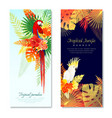 tropical parrots vertical banners vector image