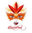 venetian carnival mask emblem vector image