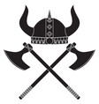 viking axe and shield helmet medieval vector image