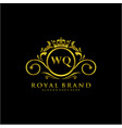 wq letter initial luxurious brand logo template vector image vector image