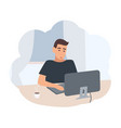 young man sitting at desk and surfing internet on vector image vector image