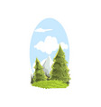 beautiful hand drawn landscape scene with firs and vector image