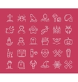 30 halloween flat line icons vector image