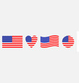 american flag icon set waving heart round shape vector image