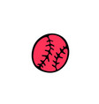 baseball ball icon in doodle style isolated on vector image vector image