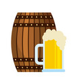 beer wooden barrel and glass cup vector image