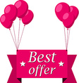Best offer pink flat ribbon with balloons vector image