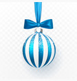 blue christmas ball with bow xmas glass ball vector image vector image