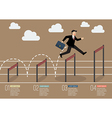 Businessman jumping over higher hurdle infographic vector image