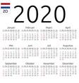 calendar 2020 dutch sunday vector image vector image