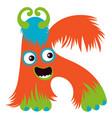 cartoon capital letter k from monster alphabet vector image vector image