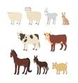 Cartoon set sheep goat donkey horse cow bull pig vector image