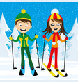 cheerful skiers in forest vector image