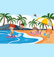 children playing on beach vector image vector image