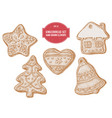 collection of hand drawn pastel gingerbread vector image