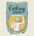 cooking banner with chef with a tray on his head vector image vector image