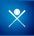 crossed baseball bats and ball icon isolated vector image