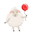 cute white sheep character standing with red vector image vector image