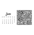 Desk calendar template for month June vector image vector image