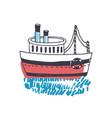 doodle drawing passenger ship marine vessel vector image