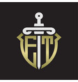 et logo monogram with sword and shield vector image vector image