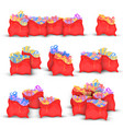 et red bags with miscellaneous christmas gifts vector image
