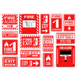 fire emergency exit extinguisher and alarm signs vector image