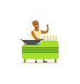 flat street food cart with barbecue vector image vector image