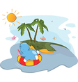 floating hippo near an island vector image vector image