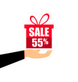 gift box on the hand with a 55 percent discount vector image vector image