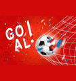 goal soccer ball in a net world competition vector image vector image