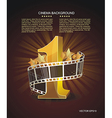 Gold number 1 with twisted filmstrip against dark vector image vector image
