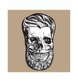hand drawn human skull with hipster hairdo beard vector image vector image