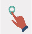 hand pressing map pin point location button vector image