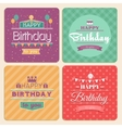 Happy Birthday card set in retro design vector image vector image