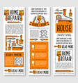 home repair painting interior design banner set vector image vector image