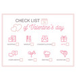horizontal printable checklist for valentine s day vector image vector image
