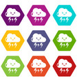 lightning icons set 9 vector image