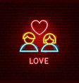 love neon label vector image vector image