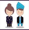 malaysia bride and groom cartoon wedding vector image vector image