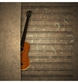 musical background guitar on old sheet music vector image vector image
