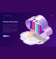 online education or library isometric concept vector image vector image