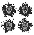 ornate skulls on black ink splashes vector image vector image