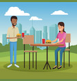 people and fast food vector image vector image