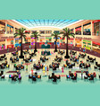 people eating in a food court vector image vector image
